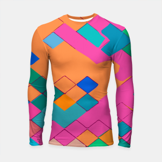 Thumbnail image of geometric square pixel pattern abstract in pink orange green Longsleeve rashguard , Live Heroes