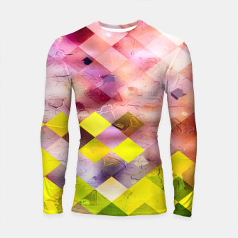 Thumbnail image of geometric square pixel pattern abstract in green yellow purple Longsleeve rashguard , Live Heroes