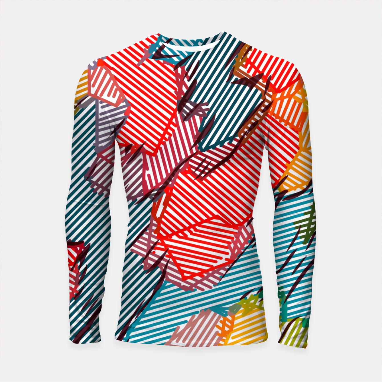 Image of fractal geometric line abstract background in red yellow blue Longsleeve rashguard  - Live Heroes