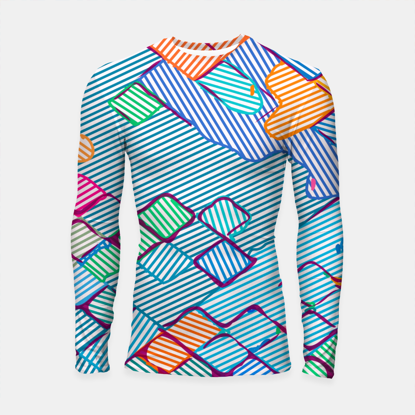 Image of geometric square pixel pattern abstract in blue pink orange Longsleeve rashguard  - Live Heroes