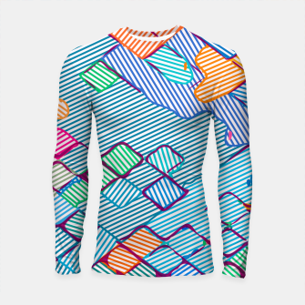 Thumbnail image of geometric square pixel pattern abstract in blue pink orange Longsleeve rashguard , Live Heroes