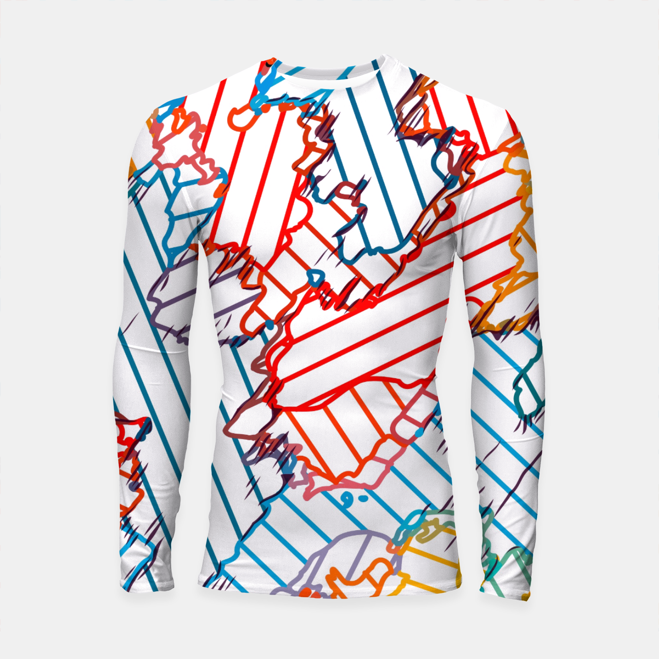 Image of fractal geometric line abstract background in red blue yellow Longsleeve rashguard  - Live Heroes