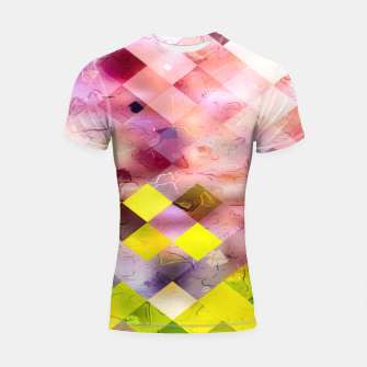 Thumbnail image of geometric square pixel pattern abstract in green yellow purple Shortsleeve rashguard, Live Heroes