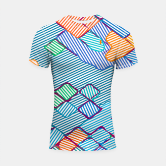 Thumbnail image of geometric square pixel pattern abstract in blue pink orange Shortsleeve rashguard, Live Heroes