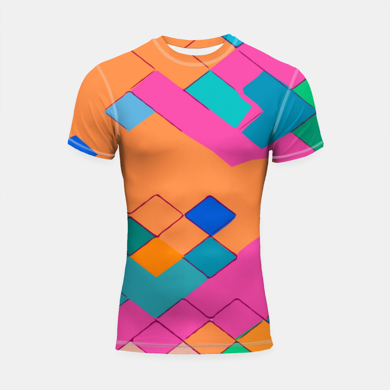 Image of geometric square pixel pattern abstract in pink orange green Shortsleeve rashguard - Live Heroes