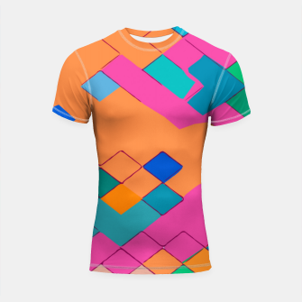 Thumbnail image of geometric square pixel pattern abstract in pink orange green Shortsleeve rashguard, Live Heroes