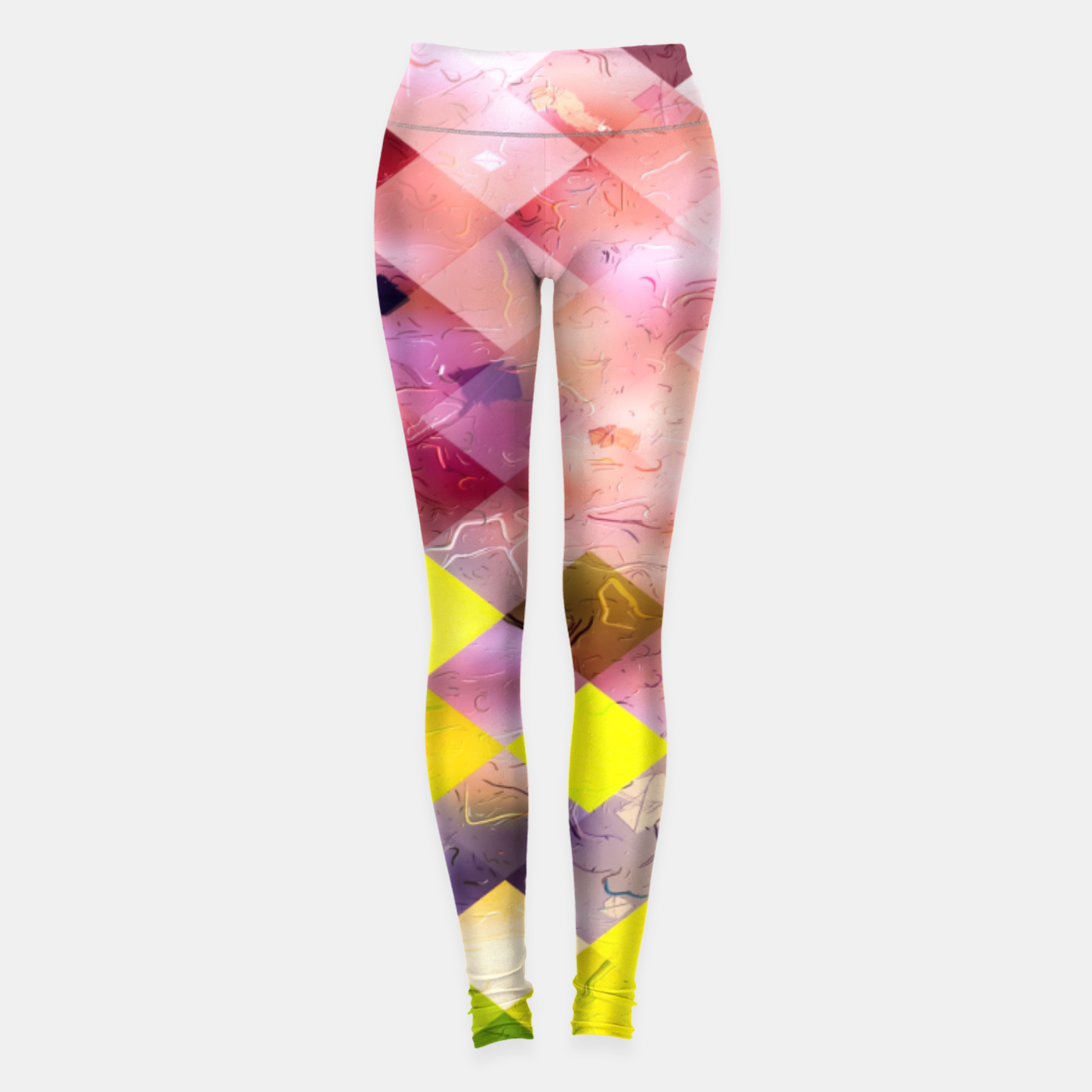Image of geometric square pixel pattern abstract in green yellow purple Leggings - Live Heroes