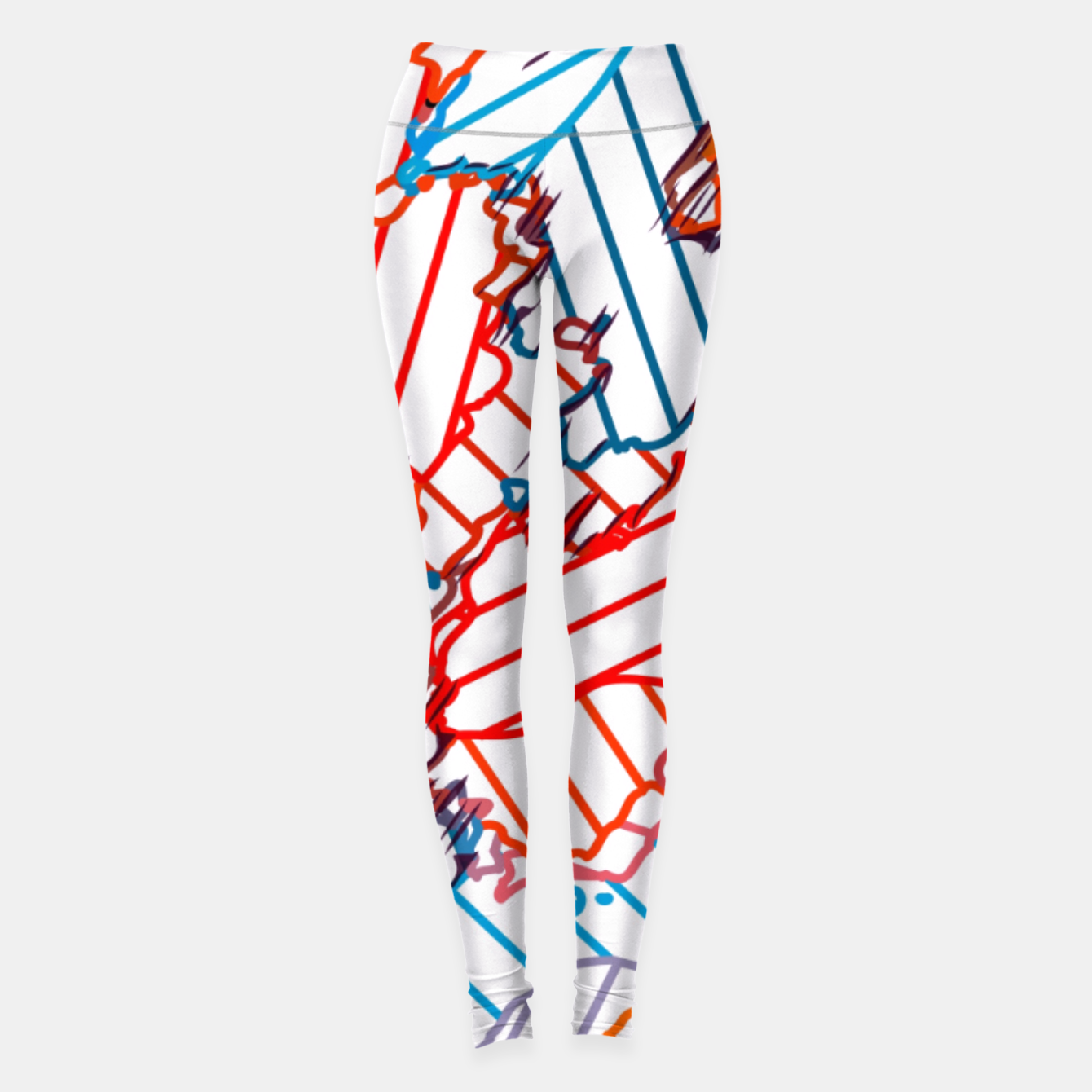 Image of fractal geometric line abstract background in red blue yellow Leggings - Live Heroes