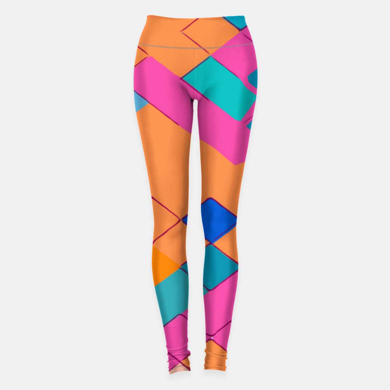 Image of geometric square pixel pattern abstract in pink orange green Leggings - Live Heroes
