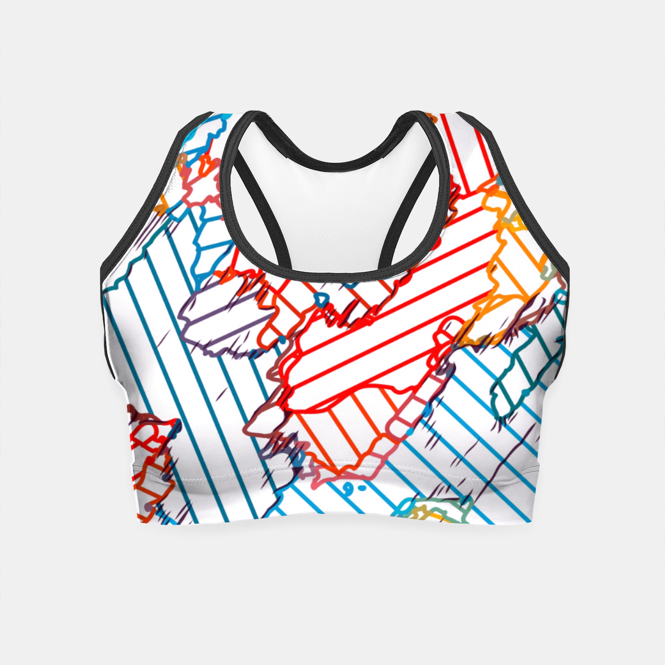 Image of fractal geometric line abstract background in red blue yellow Crop Top - Live Heroes
