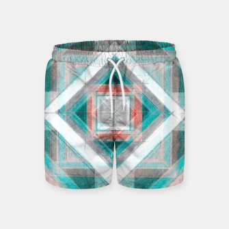 Thumbnail image of Pencil Geometry in Light Blue and Red Swim Shorts, Live Heroes