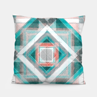 Miniatur Pencil Geometry in Light Blue and Red Pillow, Live Heroes