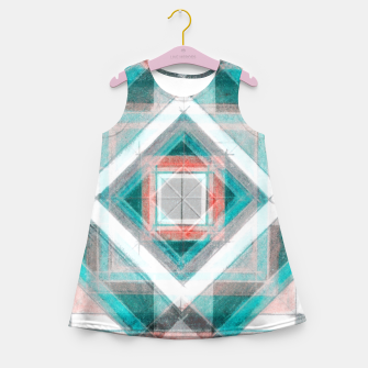 Miniatur Pencil Geometry in Light Blue and Red Girl's summer dress, Live Heroes