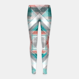 Miniatur Pencil Geometry in Light Blue and Red Girl's leggings, Live Heroes