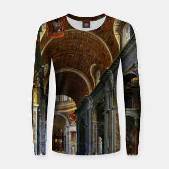 Thumbnail image of Interior of St. Peter's Basilica, Rome by Giovanni Paolo Panini Women sweater, Live Heroes