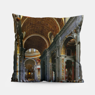 Thumbnail image of Interior of St. Peter's Basilica, Rome by Giovanni Paolo Panini Pillow, Live Heroes