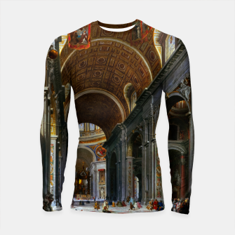 Thumbnail image of Interior of St. Peter's Basilica, Rome by Giovanni Paolo Panini Longsleeve rashguard , Live Heroes
