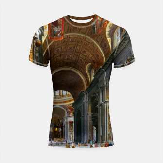 Thumbnail image of Interior of St. Peter's Basilica, Rome by Giovanni Paolo Panini Shortsleeve rashguard, Live Heroes