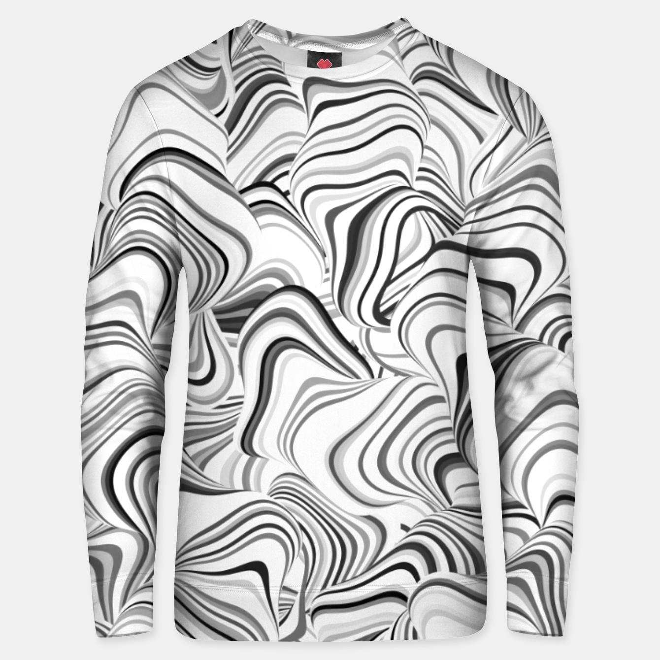 Image of Paths, black and white abstract curvy lines design Unisex sweater - Live Heroes