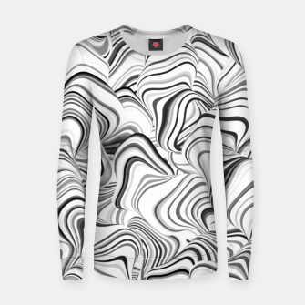 Miniatur Paths, black and white abstract curvy lines design Women sweater, Live Heroes