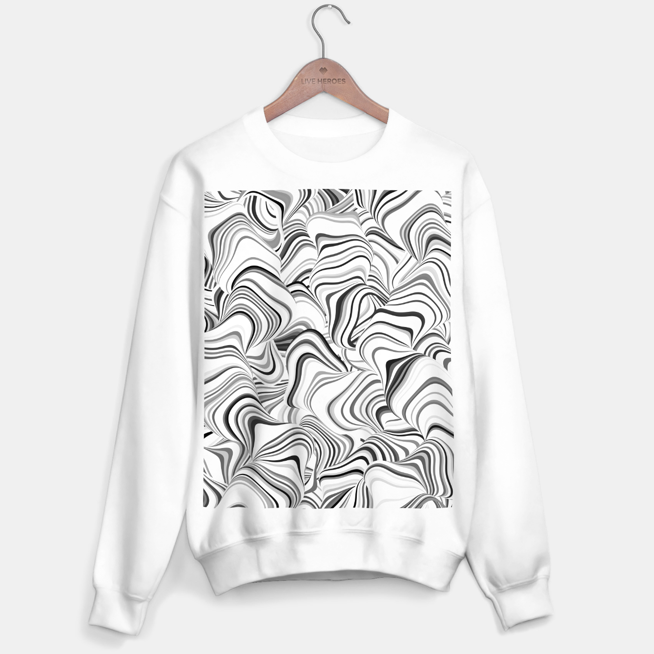Image of Paths, black and white abstract curvy lines design Sweater regular - Live Heroes