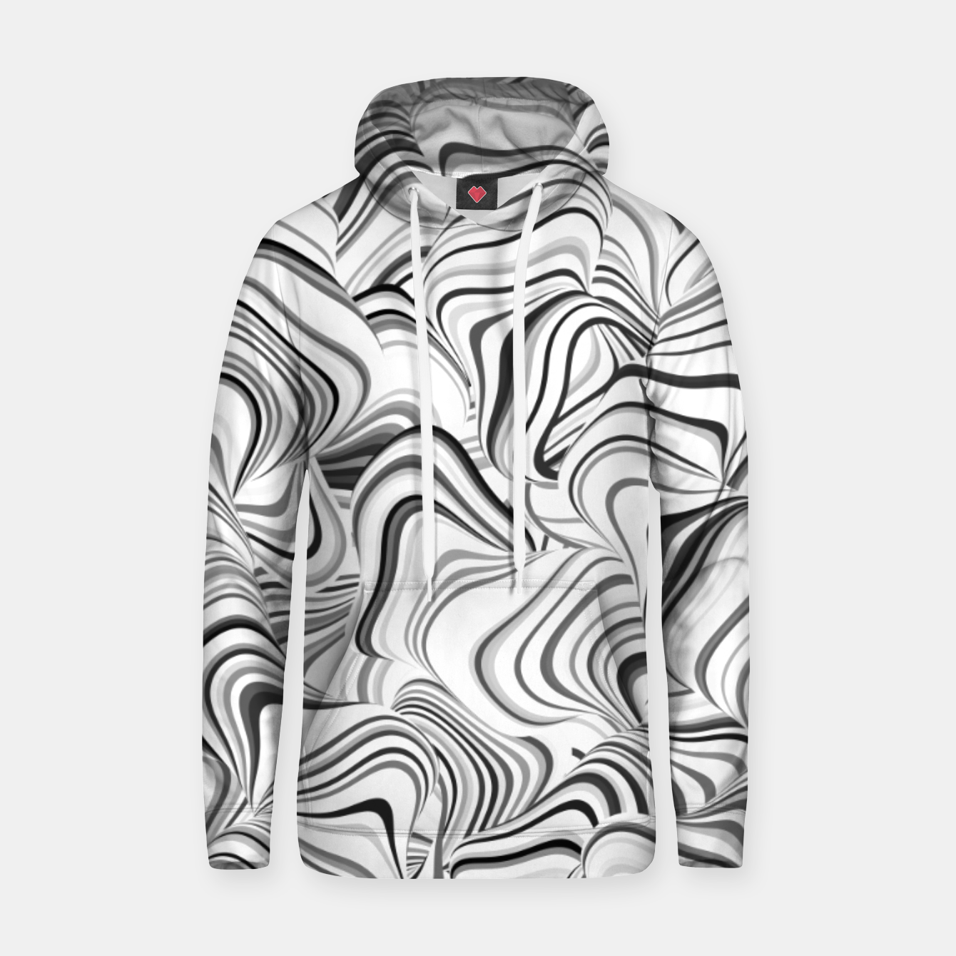 Image of Paths, black and white abstract curvy lines design Hoodie - Live Heroes