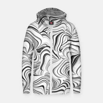 Miniatur Paths, black and white abstract curvy lines design Zip up hoodie, Live Heroes
