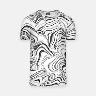 Miniatur Paths, black and white abstract curvy lines design T-shirt, Live Heroes