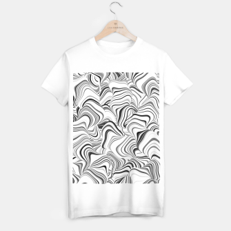 Miniatur Paths, black and white abstract curvy lines design T-shirt regular, Live Heroes