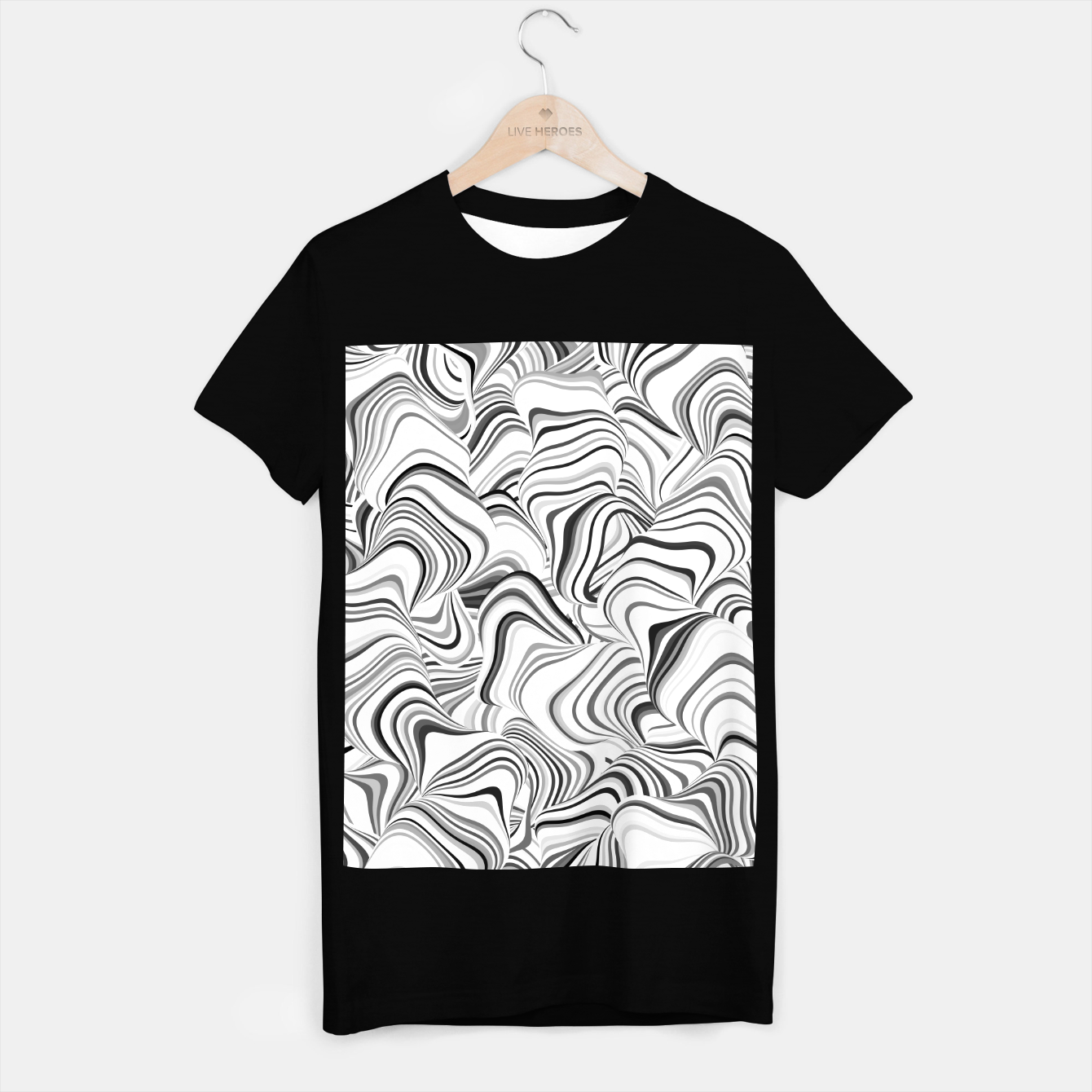 Image of Paths, black and white abstract curvy lines design T-shirt regular - Live Heroes