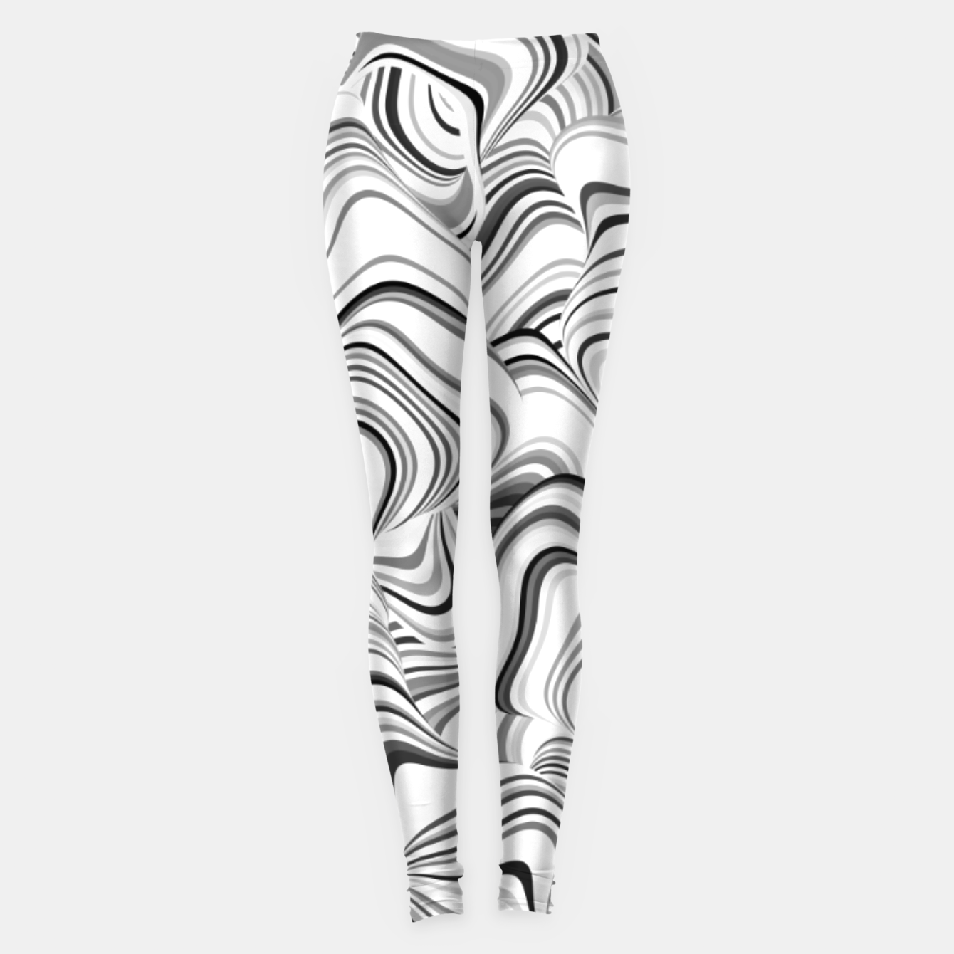 Image of Paths, black and white abstract curvy lines design Leggings - Live Heroes
