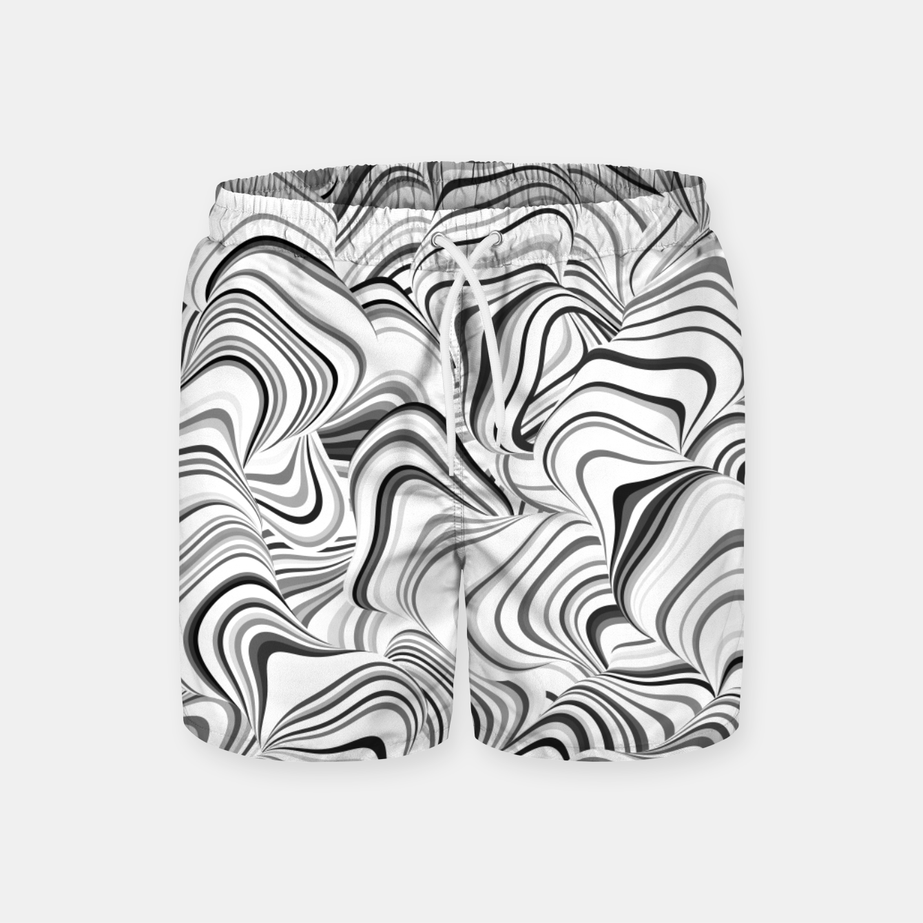 Image of Paths, black and white abstract curvy lines design Swim Shorts - Live Heroes