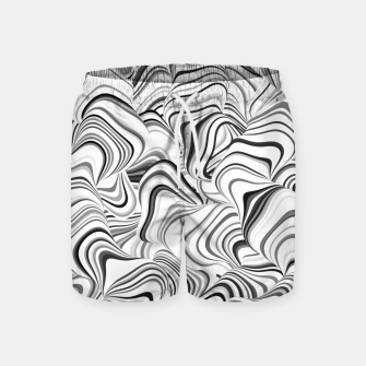 Miniatur Paths, black and white abstract curvy lines design Swim Shorts, Live Heroes