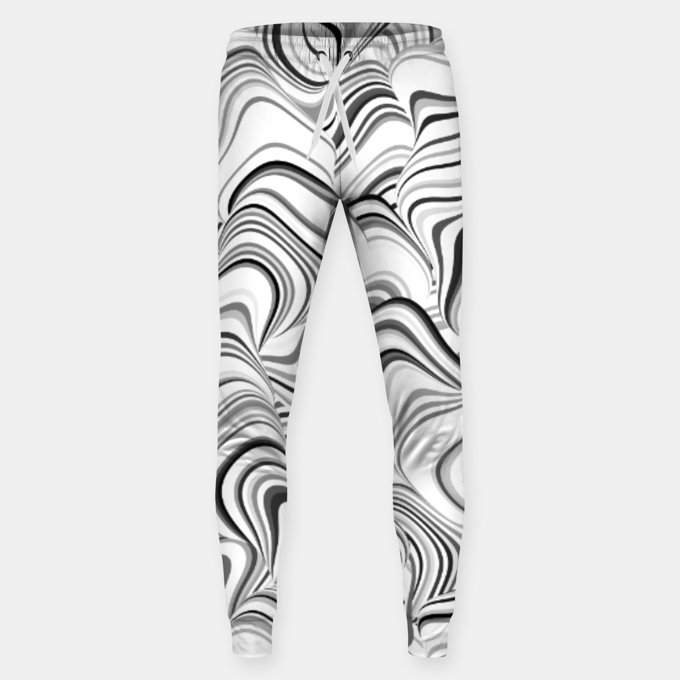 Image of Paths, black and white abstract curvy lines design Sweatpants - Live Heroes