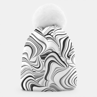 Miniatur Paths, black and white abstract curvy lines design Beanie, Live Heroes