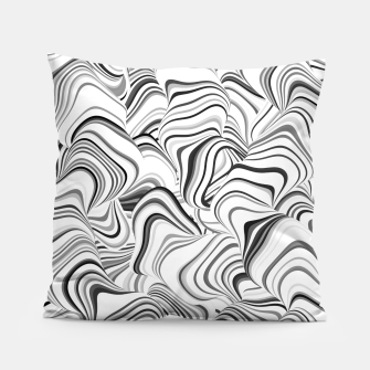 Miniatur Paths, black and white abstract curvy lines design Pillow, Live Heroes