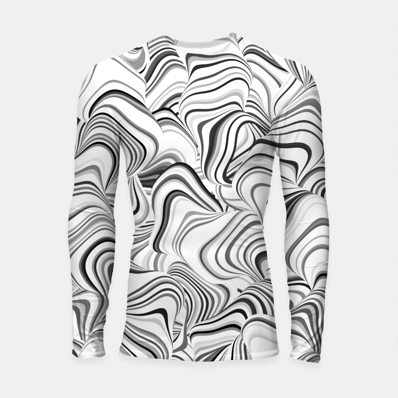 Image of Paths, black and white abstract curvy lines design Longsleeve rashguard  - Live Heroes