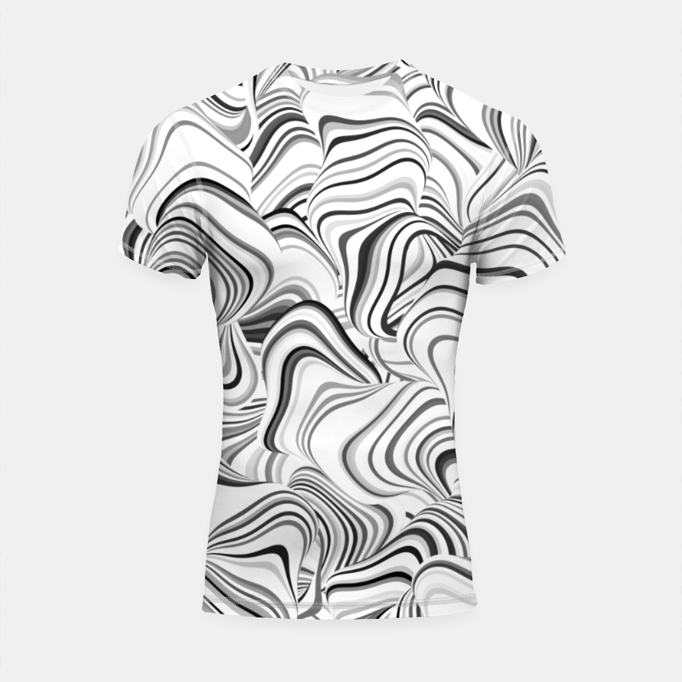 Image of Paths, black and white abstract curvy lines design Shortsleeve rashguard - Live Heroes