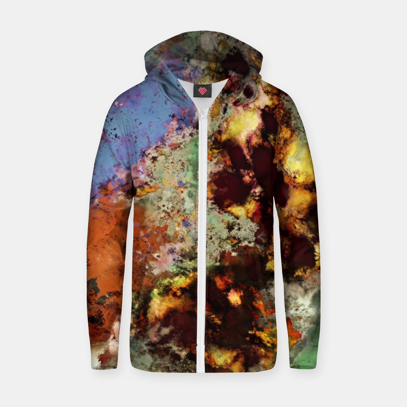 Image of Elegantly eroded Zip up hoodie - Live Heroes