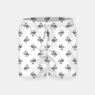 Miniatur Black and White Sketchy Birds Motif Pattern Swim Shorts, Live Heroes