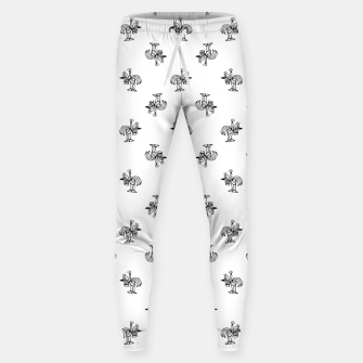 Miniatur Black and White Sketchy Birds Motif Pattern Sweatpants, Live Heroes