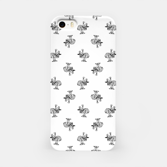 Miniatur Black and White Sketchy Birds Motif Pattern iPhone Case, Live Heroes