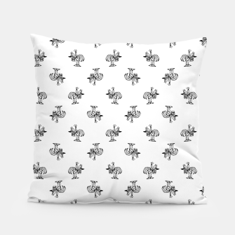 Miniatur Black and White Sketchy Birds Motif Pattern Pillow, Live Heroes