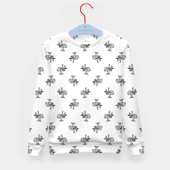 Imagen en miniatura de Black and White Sketchy Birds Motif Pattern Kid's sweater, Live Heroes