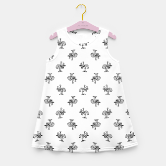 Thumbnail image of Black and White Sketchy Birds Motif Pattern Girl's summer dress, Live Heroes