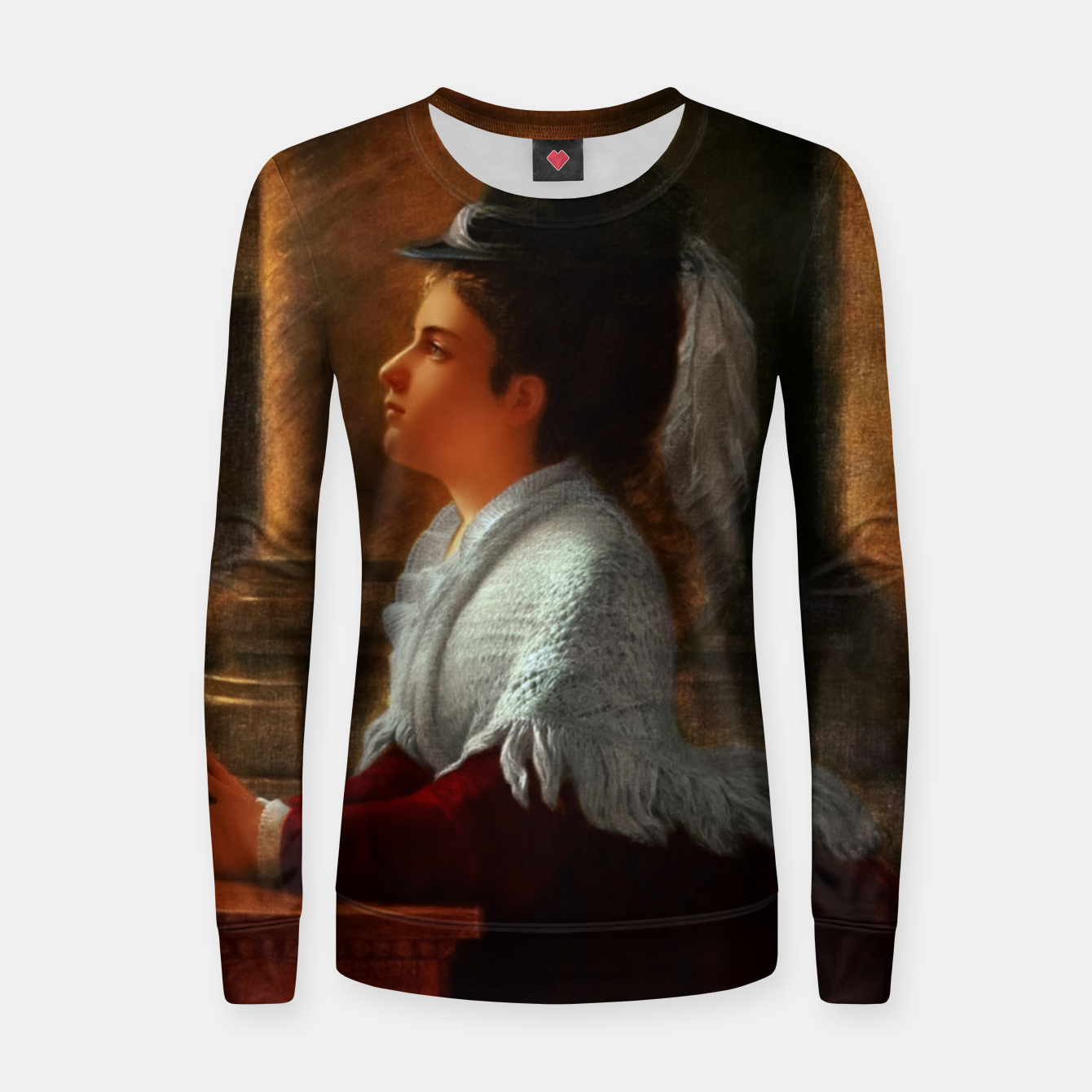 Image of Young Woman Praying In Church by Anton Thiele Women sweater - Live Heroes