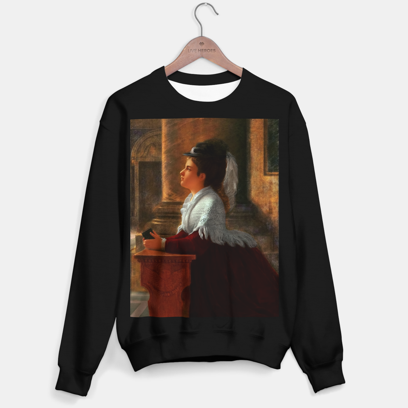 Image of Young Woman Praying In Church by Anton Thiele Sweater regular - Live Heroes