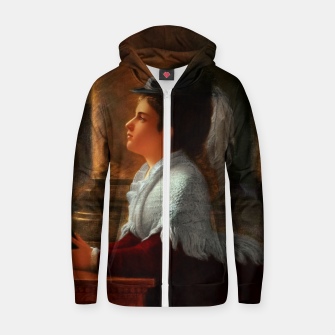 Thumbnail image of Young Woman Praying In Church by Anton Thiele Zip up hoodie, Live Heroes