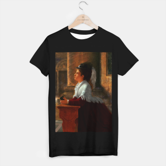 Thumbnail image of Young Woman Praying In Church by Anton Thiele T-shirt regular, Live Heroes