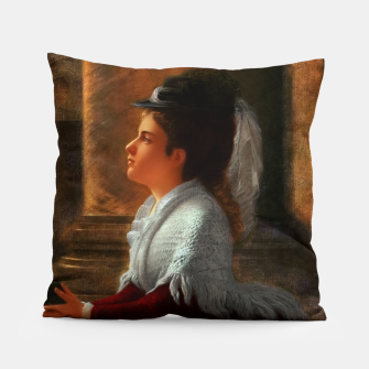 Young Woman Praying In Church by Anton Thiele Pillow thumbnail image